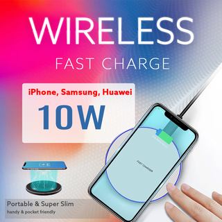 Qi 10W Fast Wireless Charger, Charging Station for...