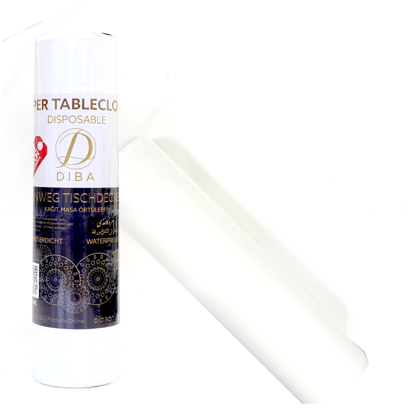 Disposable tablecloth (laminated paper) - white - 10m roll - perforated