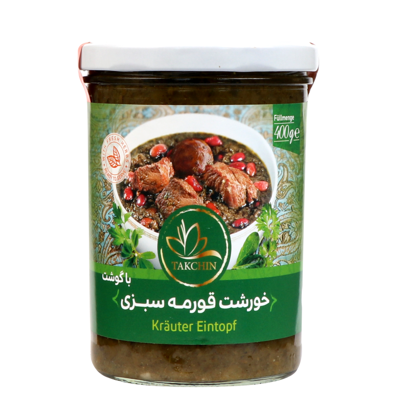 Takchin Khoreshte Ghormeh Sabzi ba Gushte booghalamoon - 7 Herbs Stew Ready Meal with turkey meat 400g