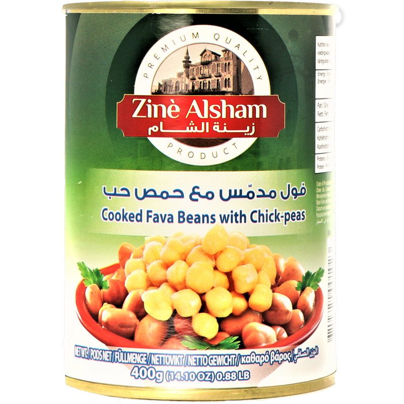 Zine Alsham Foul with Chickpeas - Cooked Fava Beans with Chickpeas 400g