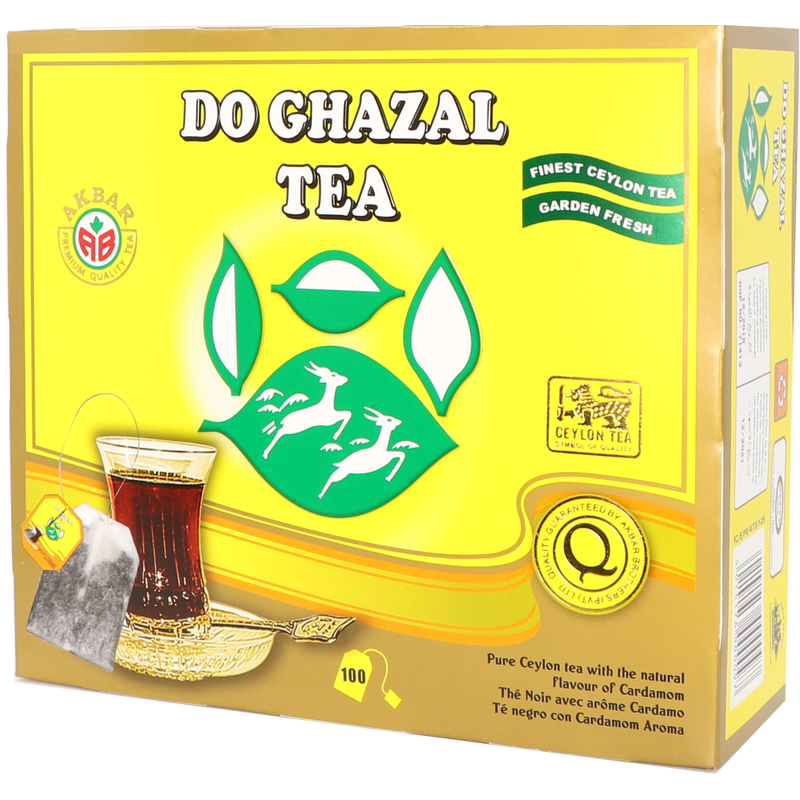 Do Ghazal (Alghazaleen) - Super Ceylon Cardamom Gold Tea - 100 Tagged Teabags