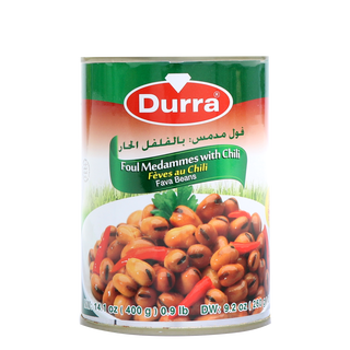 Durra Foul Modammes with Chili -  Cooked Fava Beans with...