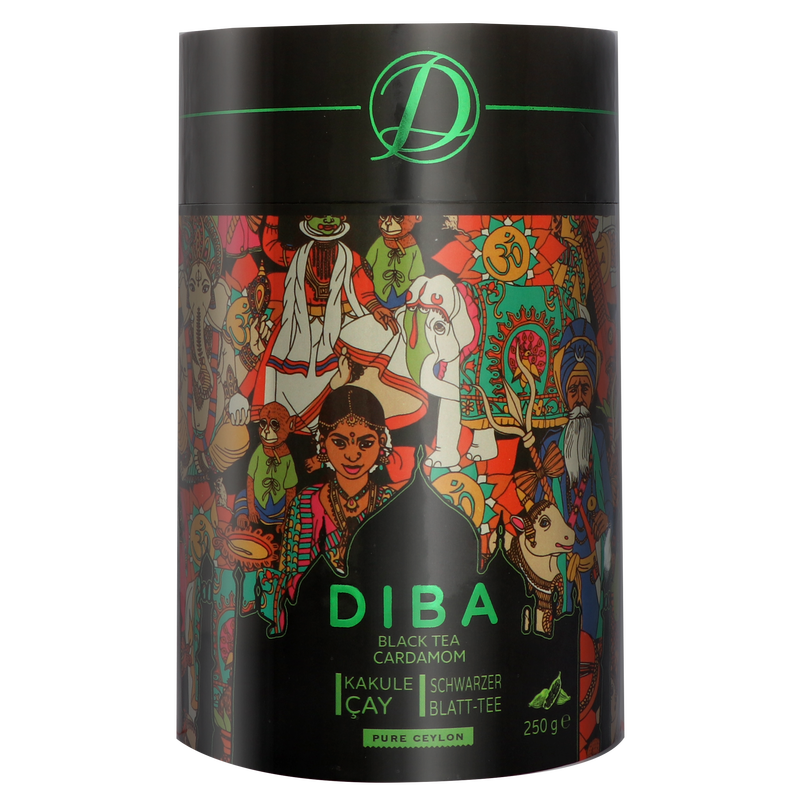 Diba Tea - Ceylon Tea with real Cardamom - Loose Tea 250g Tea Canister